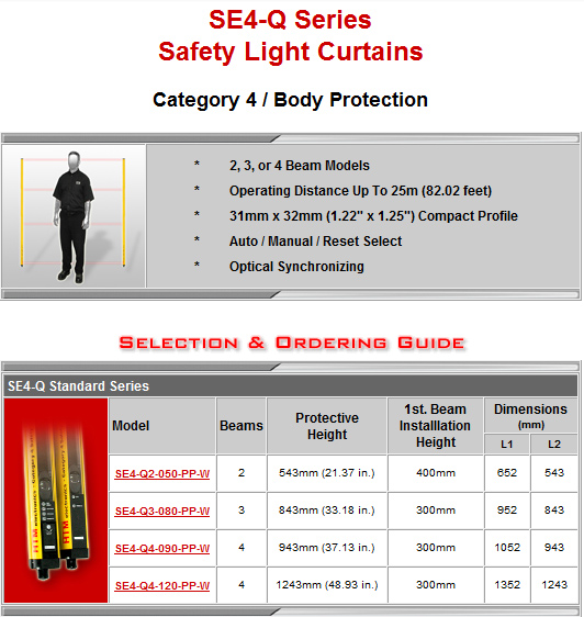 HTM Electronics SE4-Q Series Safety Light Curtains
